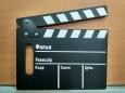 Хлопушка для кино ч/б, деревянная,на русском языке